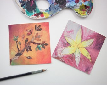 small pair of prints - christmas gifts - autumn leaves decor - orchid picture - orange interior - pink bedroom - pink bedroom artwork