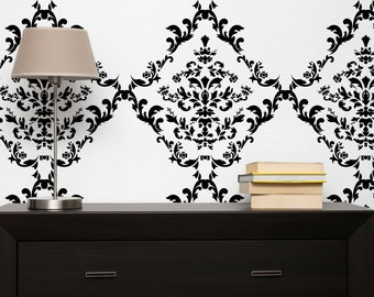 Wall Stencil Damask -  in reusable Mylar, repeatable pattern, 16 x 17 inch. Large sheet for fast painting