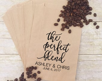 The Perfect Blend, Coffee Wedding Favors, Coffee Favors, Coffee Bags, Wedding Coffee, Personalized Wedding Favors, Favor Bags, Treat Bags