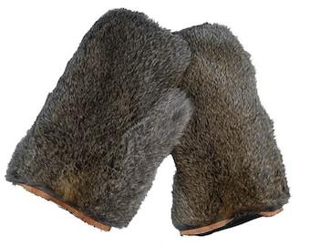 Pair of Rabbit Fur Massage Mitts: Bunny Brown (696-9BB)
