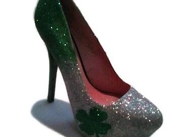 Glitter Heels / Ombre Heels / St. Patrick's Day Pumps / Women's Pumps / Shamrock Heels / Four Leaf Clover Heels / Wedding Heels / Irish