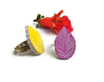 Spring leaf ring clay chalk paper fibre ceramic white pink lilac yellow adjustable silver, simple nature jewelry gift for vegan girl woman
