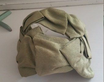 Vintage Ladies Hat Green Grosgrain Ribbon Cottage Romantic Chic