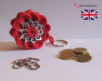 Mini flower purse with pop tabs crochet pattern