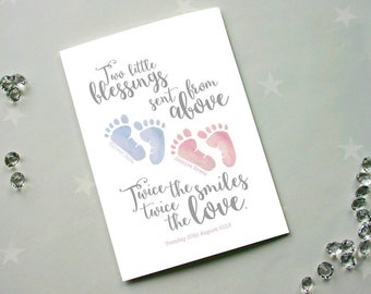 Personalised New Baby Card for Twins