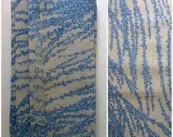 Vintage Antique Katazome Weeping Willow Cotton Hemp Fabric Rare