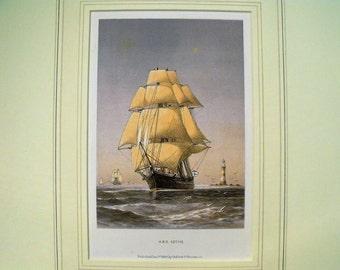 Antique Colour Lithographic Print HMS Active Victorian Ships Royal Navy (6159)