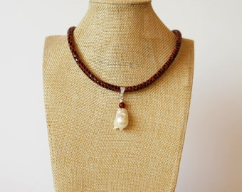 Chain necklace schlangenprint silver necklace strap suede band with pearls Baroque Pearl eco