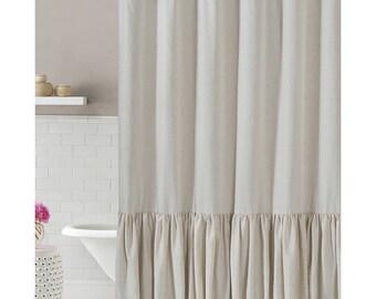 Pure Linen Ruffled Shower Curtain / 72x72 Standard Size/ Bathroom Decor
