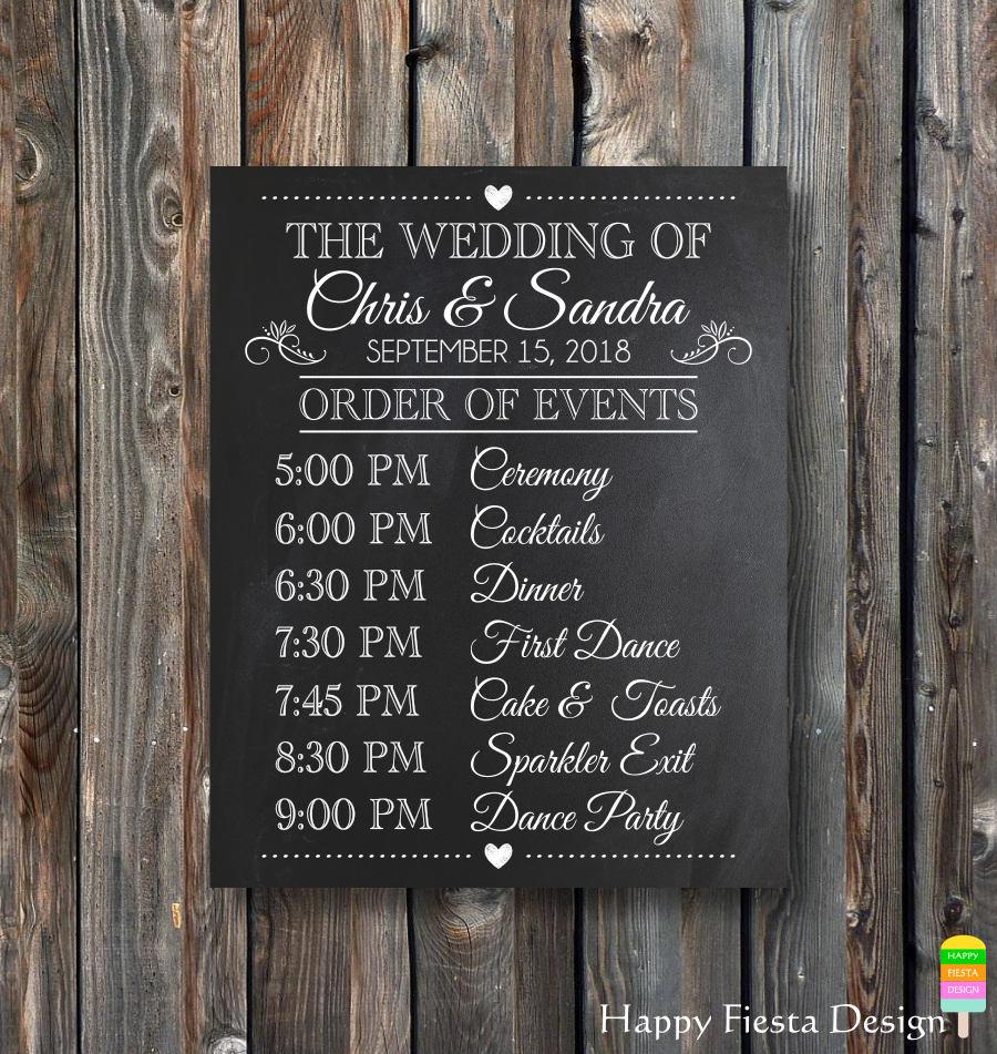 Wedding Day: PRINTABLE Wedding Chalkboard-Order Of Events Sign-Wedding Day