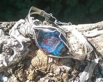 Blue Black Dichroic Silver Bracelet