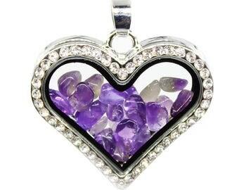 Amethyst Glass box frame heart-shaped diamond crystal pendant, Wholesale Crystal Locket Supply,35x30mm,BC1-48
