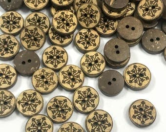 "36 Pieces 3/5"" Natural Coconut Button- Organic Buttons- Designer Coconut Buttons-Scrapbooking Buttons - Brown Buttons- Shirt Buttons - Ring"