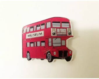 Uk LONDON flag union jack Tour classic red tour bus funky cute  retro brooch