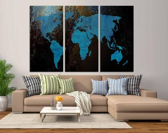 3 Panel Split Abstract World Map Canvas Print Turquoise Color On A Black