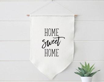 Home Sweet Home Farmhouse Linen Pennant Banner