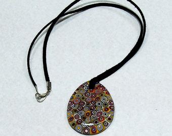 Murano Glass Pendant Millefiori Multi-Colour Black