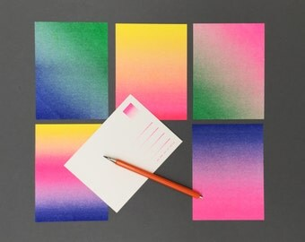 A package of six risograph colorful gradient postcards