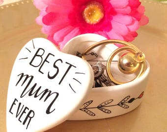 Personalised Best Mum Ever Heart Shaped Ceramic Trinket Box