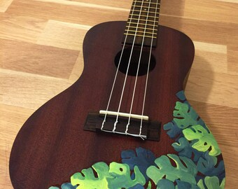 READY TO SHIP! Hand painted concert ukulele with tropical monstera leaves
