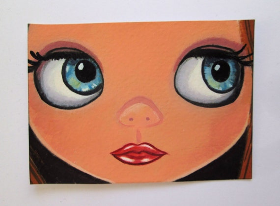 ACEO Original Miniature Painting Blythe doll Girl face close up Artist Trading Card