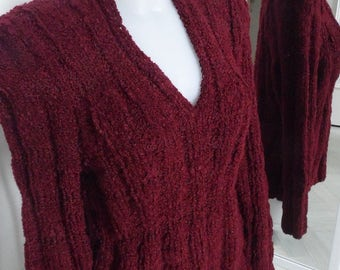 Sweater Burgundy dark V-neck marked size soft texture