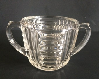 Vintage Clear Glass Art Deco Sugar Bowl by Anchor Hocking Pattern # AHC34 -Vertical and Horizontal  Ribbed Pattern