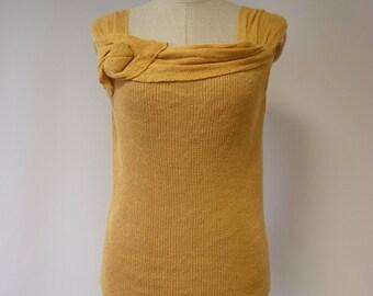 Special price, Summer sunflower linen top, M size.