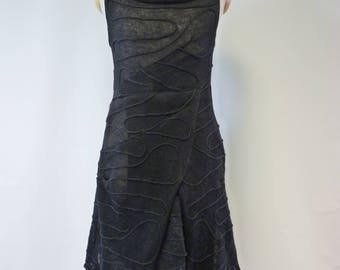 Artsy knitted black linen dress, M size.