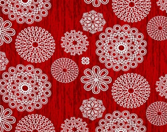 Christmas at Brambleberry Ridge by Violet Craft for Michael Miller, Knots and Loops Red