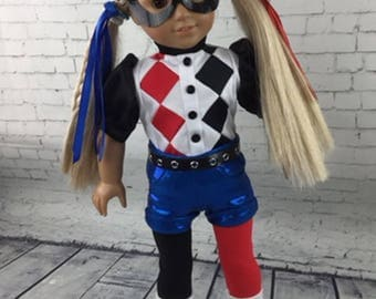 Harley Quinn Custom Hand Made Costume for 18 Inch dolls such as American Girls, Maplelea and others.