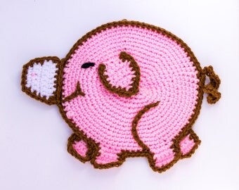 Whimsical Pig Potholder   Whimsical Kitchen Decor   Pig Wall Decor    Amigurumi Pig   Country