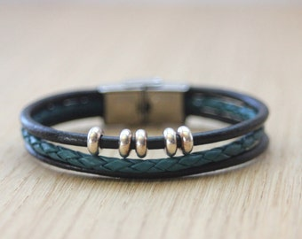 Bracelet black leather and braided petrol blue leather with metal beads and stainless steel clasp - woman leather bracelet