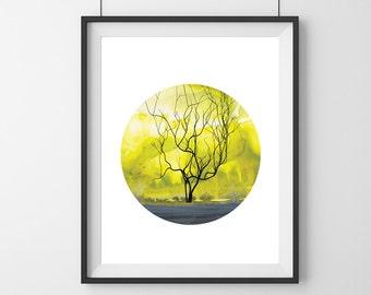 Yellow Landscape watercolor print- Sweet oxygen collection- Landscape Watercolor print - modern home decor