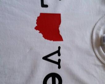 love ohio tee front and back, custom, women's tshirt, osu, buckeye, ohio state