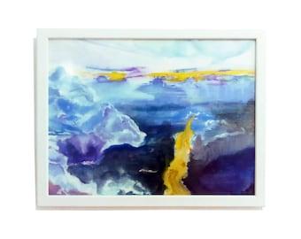 Sky painting, watercolor sky, wall art sky, cloud art, sky art, horizon painting, colorful sky , sunrise painting, sunrise art, sunset art