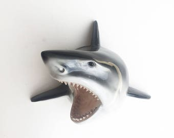 ANY COLOR Shark Head Wall Mount // Faux Taxidermy // Wall Sculpture // Nautical Decor // Animal Head // Shark Week // Fish Trophy Mount