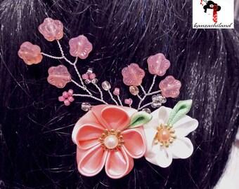 Touched kanzashi hair cherry - handmade sakura blossoms.