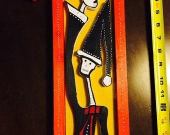 Dia de Los Muertos Black-Gowned Santa--Retablo, Altar, Nicho--Signed by Salvador Jimenez