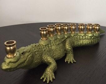 Menoragator: Alligator Menorah