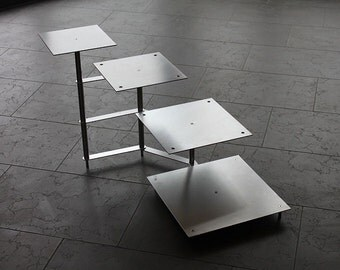 Cake stand Tortenetagere aluminum 4 floors, wedding cake stand, 21 x 21 cm, 26 x 26 cm, 31 x 31 cm, 36 x 36 cm