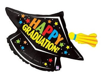 graduation cap balloon, Happy Graduation, grad party decorations, nursing school, high school, multicolor, unisex, colorful, tassel