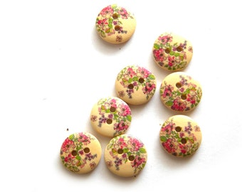 10 Wooden Painted Flower Buttons