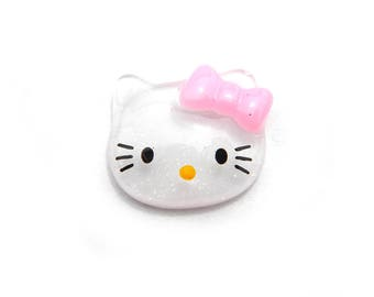 5 White Cat  Resin Flatbacks - Resin Cabochons