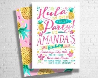 Luau Birthday Invitation | Hawaiian Luau | Luau Pool Party Invite | Pineapple Birthday Invitation | Tropical Birthday | DIGITAL FILE ONLY