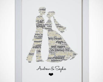 Personalised Bride And Groom Word Art Picture Print Wall Art Wedding Couples Gift