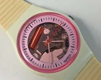 """1988 """"White Lady"""" LW119 Vintage Ladies Swatch Watch / 80s Retro Pink White and Peach / Clear Skeleton Jelly Face"""
