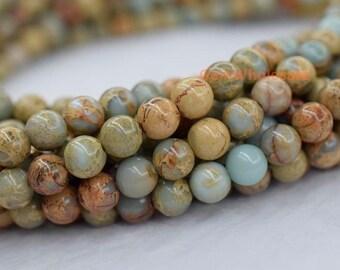 "15.5"" Blue Aqua Terra Jasper round beads 8mm/10mm, blue African opal beads, blue impression jasper round beads"