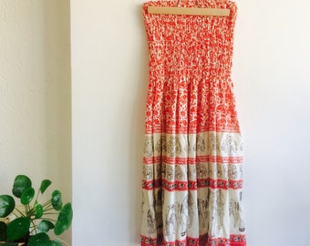 Bohemian vintage dress| vintage dress | strapless dress| cotton dress | vintage jurkje | summerdress| bohemian summerdress | elephant dress
