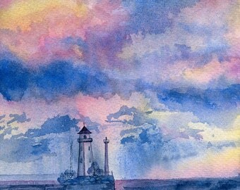Original watercolor artwork with Lighthouse in the sea and dreamy cloudy sunset sky